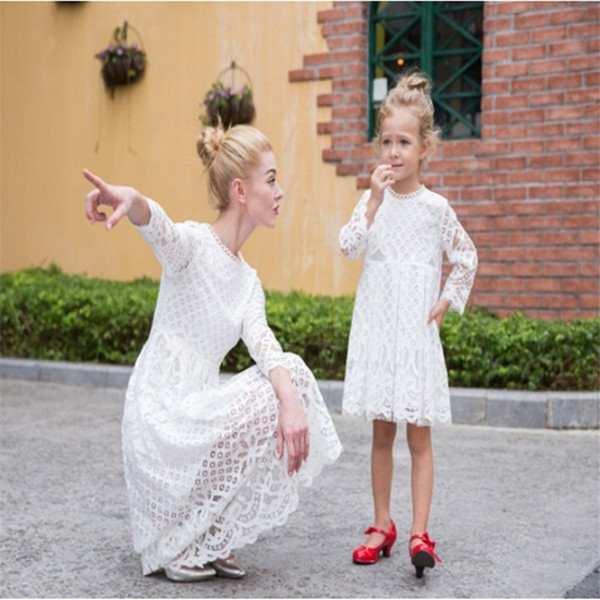 Mother Daughter Dresses Mom Girl Wedding White Black Dress Party Outfits for Women Mommy and Me Matching Family Clothing