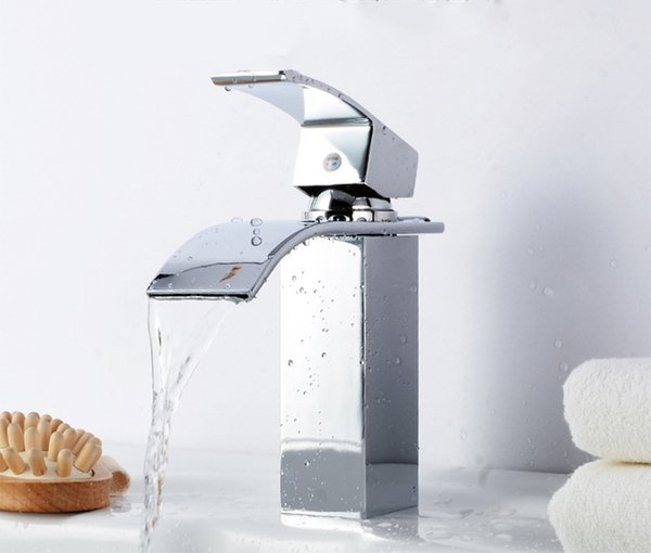 AOPASI Basin Faucet Modern Single Handle Waterfall Faucet Bathroom Kitchen Wash Basin Hot and Cold Oversized Outlet (Silver)