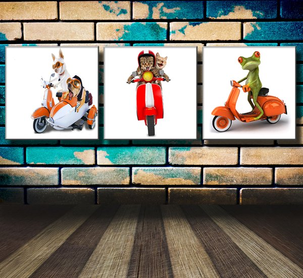 Frog Dog Cat Rider,3 Pieces Canvas Prints Wall Art Oil Painting Home Decor (Unframed/Framed)