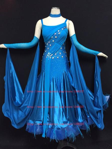Standard Ballroom Dancing Dress100% New Bonne Qualité Sparkle Verre Pierre Femmes Valse Tango Ballroom Compétition Robes De Danse