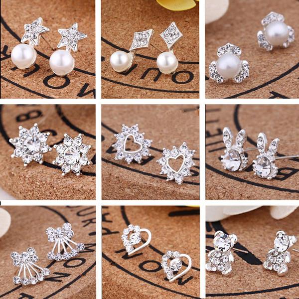 top popular 120pairs Lot, 35 styles Korean Creative Fashion diamond earrings New Pearl Earrings Hot selling accessories jewelry earrings T2C134 2020