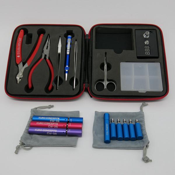 Magic Tool Coil Vape Complete kit E-cig Master Tweezers DIY jig Meter Tester PE Box Mod Rda RBA Atomizer Vapor Kit