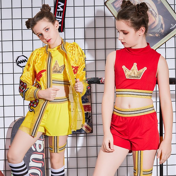 New children's jazz dance costumes hip hop girls catwalk street dance ethnic style performance clothing