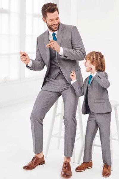 Hot Sale Two Buttons Notch Lapel Handsome Wedding Groom Tuxedos Men Suits Wedding/Prom/Dinner Best Man Blazer(Jacket+Tie+Vest+Pants)