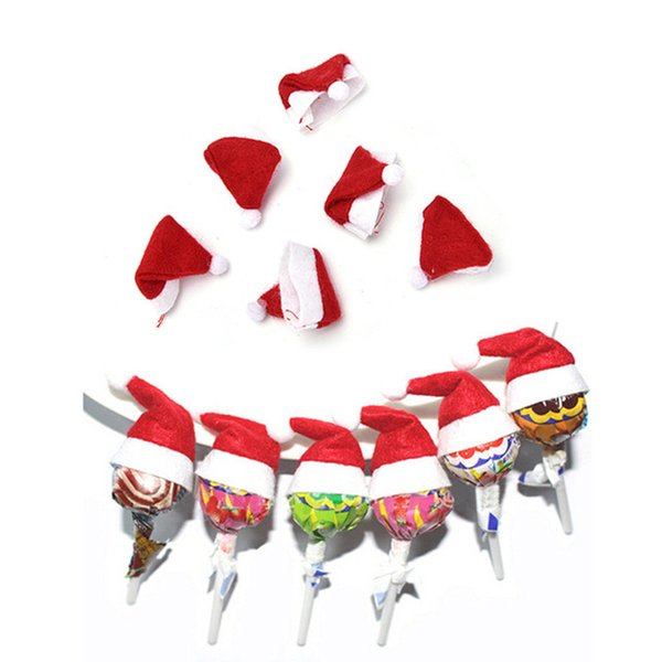 Nuovo anno carino mini cappello di caramella rosso Babbo Natale per candy lecca-lecca decor fai da te natale regalo di natale lecca-lecca top topper copertura festival decor divertente