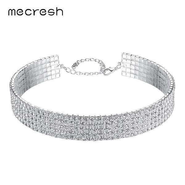 Mecresh Elegant Rhinestone Torques Choker Necklace 2018 European Classic 5 Row Wedding Clear Chocker Jewelry for Women MXL093-5