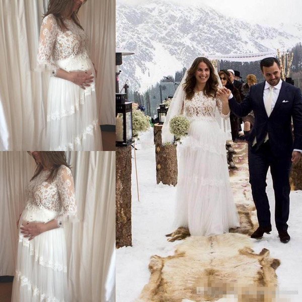 Mulheres grávidas lindos vestidos de casamento de maternidade 2018 verão rendas mangas compridas vestidos de noiva Custom Made Plus Size A linha de vestido de noiva