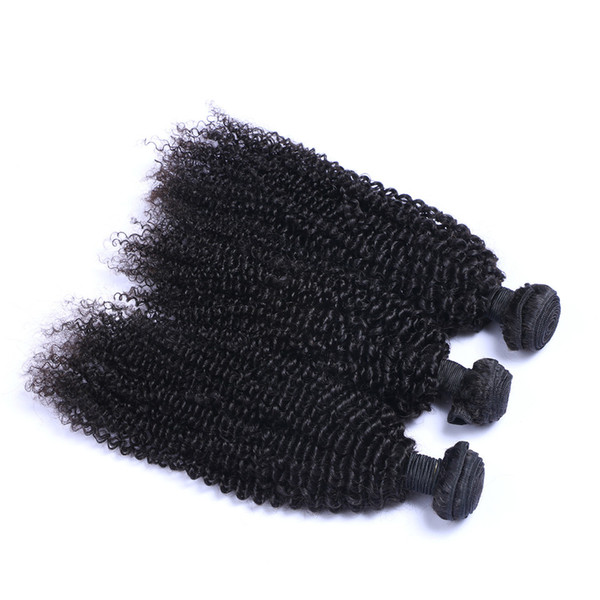 Brazilian Kinky Curl 3 Bundles / lot Human Virgin Hair Weaves Natural Black Color 100g/Bundle Double Weft Hair Extensions