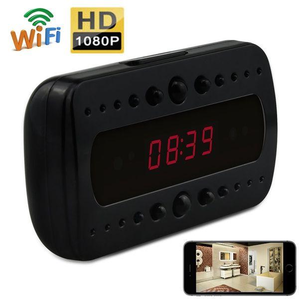 HD 1080P Digital Clock Wifi Camera Black Surveillance DVR Wireless Nanny Cam Night Vison DV Alarm Clock Motion Activated DVR for Android IOS