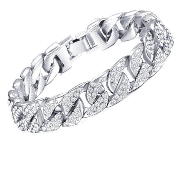 Top Men's Gold Plated Diamond Bracelet Europe and America Hip Hop Inlay Rhinestone Men's Bracelet Creative Personality Gold Silver Bracelet