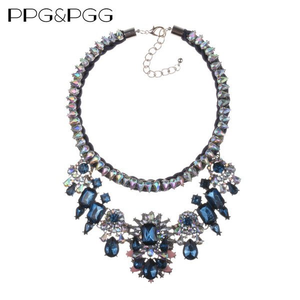 ashion Jewelry Necklace PPG&PGG Fashion Jewelry Shourouk Blue Crystal Flower Choker Statement Bib Collar Necklaces Pendants Wholesale...