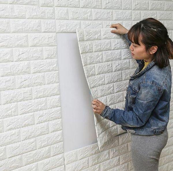 Free Shipping DIY Self Adhesive 3D Wall Stickers Bedroom Decor Foam Brick Room Decor Wallpaper Wall Decor Living Wall Sticker For Kids Room