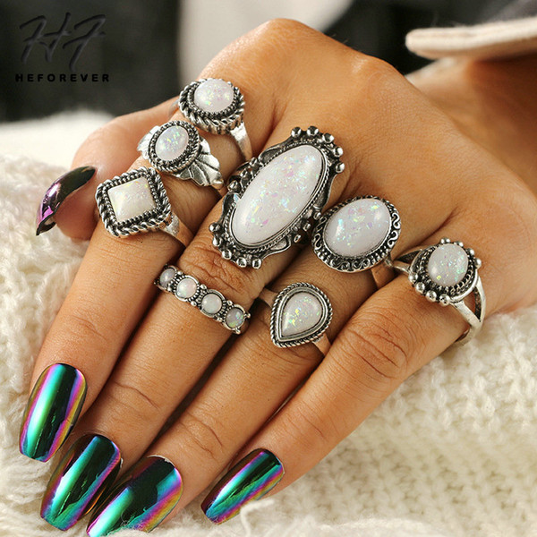 Ethnic Vintage Irregular Midi Rings set for Women White Stone Geometric 8 PCS Knuckle Rings Finger Accessories Jewelry KB401