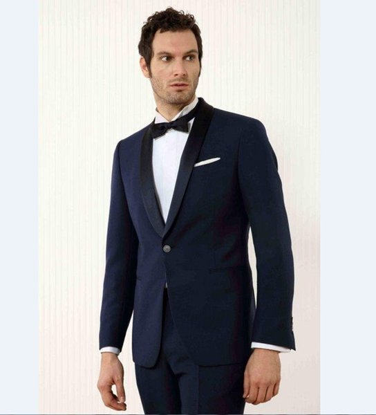 Custom Made Groomsmen Shawl Black Lapel Groom Tuxedos Navy Blue Mens Suits Wedding Best Man (Jacket+Pants)