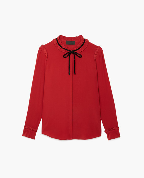 2018 Ladies Luxury Pure Color With Ribbon Tie-Bow Women Silk Soie Crew Neck Blouse Longsleeve Top Fashion France TK Kooples Shirt Shirt