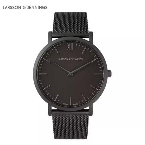 أزياء ماركة الساعات للرجال والنساء لارسون جينينغز اللباس كوارتز ساعة جلدية الفولاذ المقاوم للصدأ حزام الساعات الرياضية