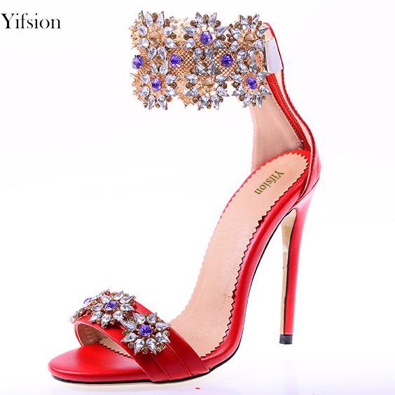 Yifsion Nuevas Mujeres Sandalias Gladiador Thin High Heels Sandalias Rhinestone Open Toe Red Gold Prom Shoes Ladies US Plus Size 3-10.5
