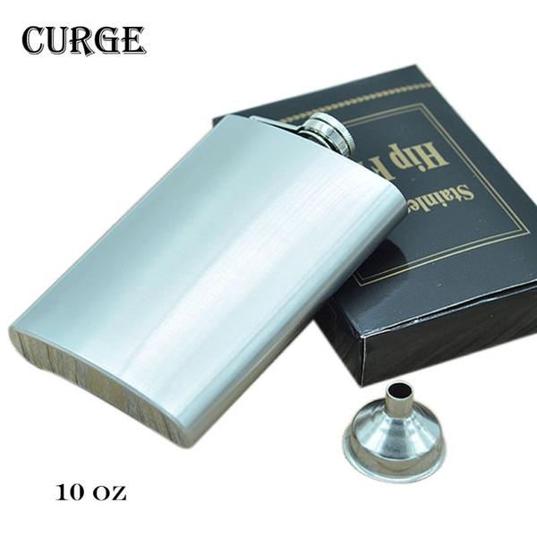 CURGE 10 oz(285ml) Portable Men's Stainless Steel Hip Flasks with Funnel Garrafa Whisky Alcohol Bole Outdoor Drinkware #2202
