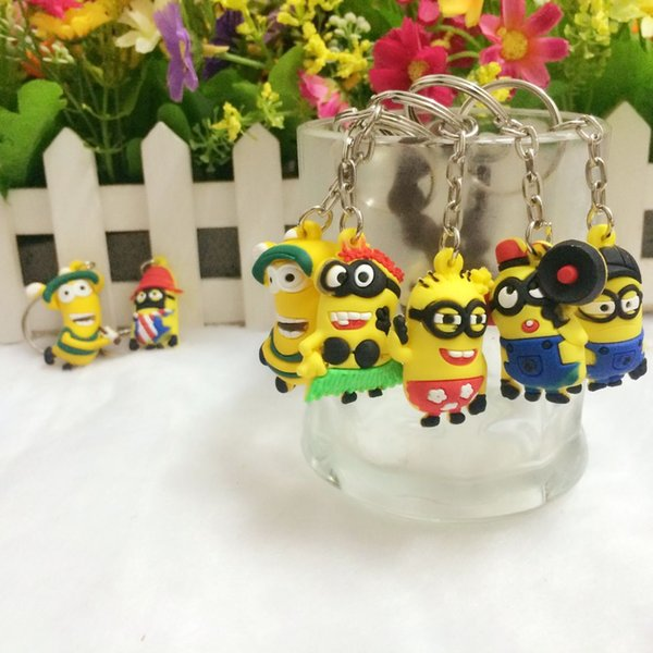 Hot Sale 3D Despicable Me Minion Action Figure Keychain Keyring Key Ring Cute Mix Order D0630