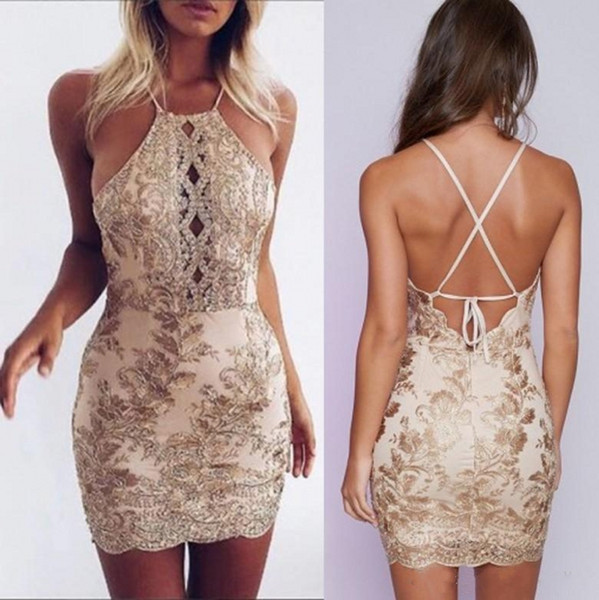 2018 Champagne Sexy Halter Lace Sheath Homecoming Dresses Bridesmaid Appliques Sleeveless Criss Cross Backless Cocktail Mini Prom Dresses