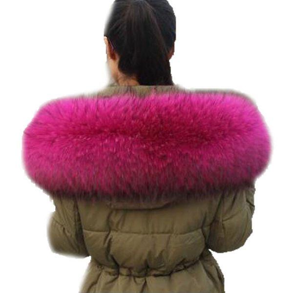 Fox Collar Black Color Hoodie Fur Trim Fox Fur Collar Scarf Custom Made Big Genuine Raccoon Hood Trim Scarf L37