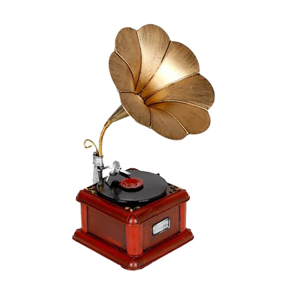 Gramophone Recorder Model Tin crafts Antique Phonograph Retro Model Arts and Crafts for Bar Study Bedroom