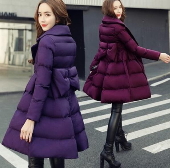 ce6688d5b518f2c зима материнства теплое пальто большой бантом длинные женские хлопка ватник  беременных женщин ветровки Женские ватные пуховик