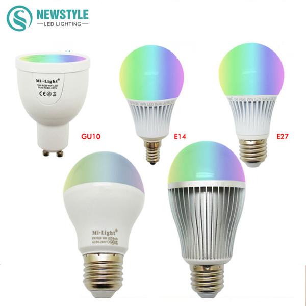 Mi Light LED Bulb Dimmable 2.4G Wireless Led Lamp AC85-265V GU10 E27 4W 5W 6W 8W 9W RGBW/RGBWW Smart Lamp indoor decoration