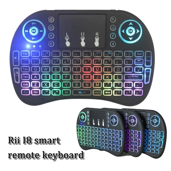 Mini versão backlight voar air mouse multi-touch pad RII I8 air mouse 2.4G mouse controle remoto sem fio para inteligente android TV CAIXA