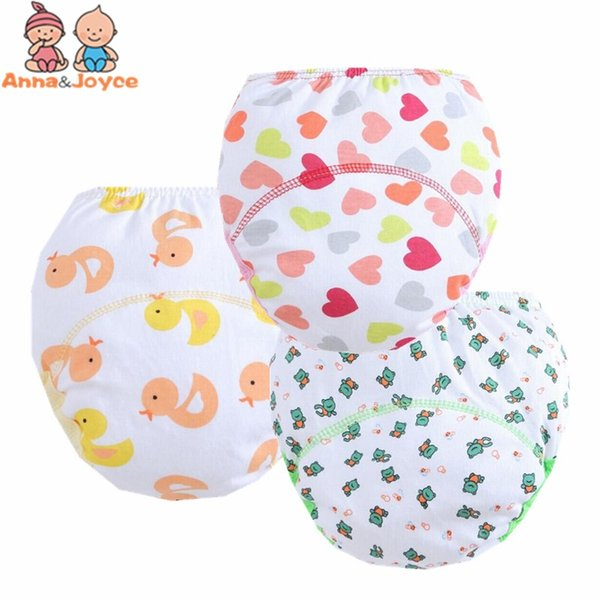 1 Pieces 3 Layers Cute Baby Training Pants/ Learning Panties/ Infant Shorts Boy Girl Diapers Cotton Nappies Underwear