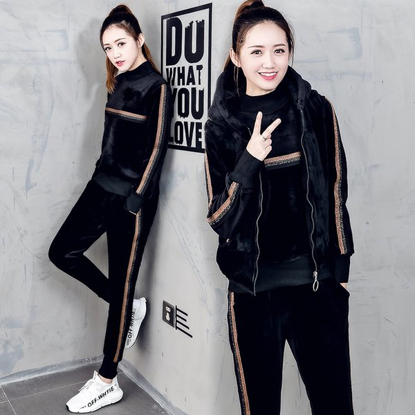 women tracksuit sportswear winter fleece velvet thick hoodies sweashirt+vest+pants running jogging leisure set sports warm suit