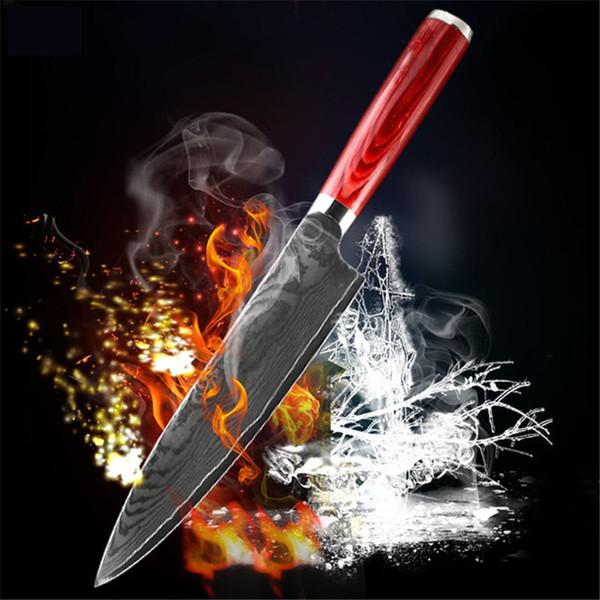 D055 FINDKING nueva madera de color hoja de acero de damasco manejar Damasco del cuchillo de chef de 8 pulgadas 67 capas de Damasco cuchillo de cocina de acero
