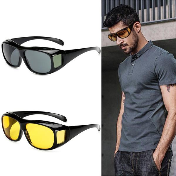 Venta al por mayor HD Visión Nocturna Gafas de sol de conducción Hombres Lente Amarilla Sobre Envoltura Alrededor de Gafas Oscuro Conducción UV400 Gafas de protección antideslumbrante regalos