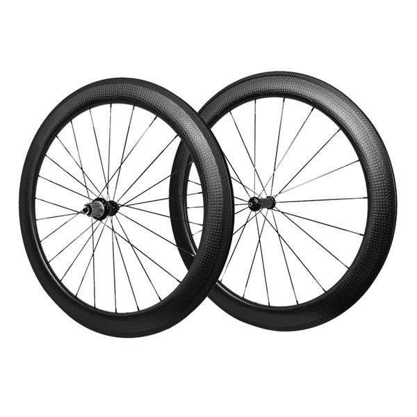 Superficie de golf ruedas de carbono 58 mm de profundidad 25 mm de ancho llantas Dimple superficie de carbono remachador ruedas forma de poder R36 cubos negro 1650g