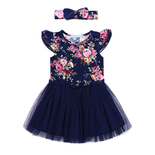 2018 Baby Girls Dresses INS New Floral Tulle Princess Dress + Headband 2 pcs Fashion Summer Girl Kids Dresses Boutique Clothes