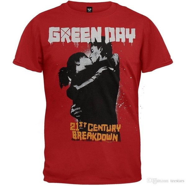 2018 New Summer Men Hot Sale Fashion Green Day Kiss 09 Tour T-ShirtShort Sleeves Cotton T-Shirt Cotton Tee Shirts For Men