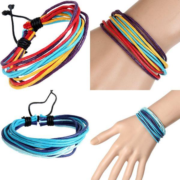 Brand New Popular Leather Braided Hemp Bracelets For Women Handmade Leather Wristband Bracelet Multi-layer Xmas Gifts Best Price 36pcs/lot
