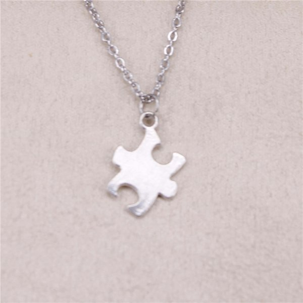New fashion jigsaw puzzle piece autism awareness 20*14mm Antique Silver Pendant Girl Short Long Chain Necklaces Jewelry for women