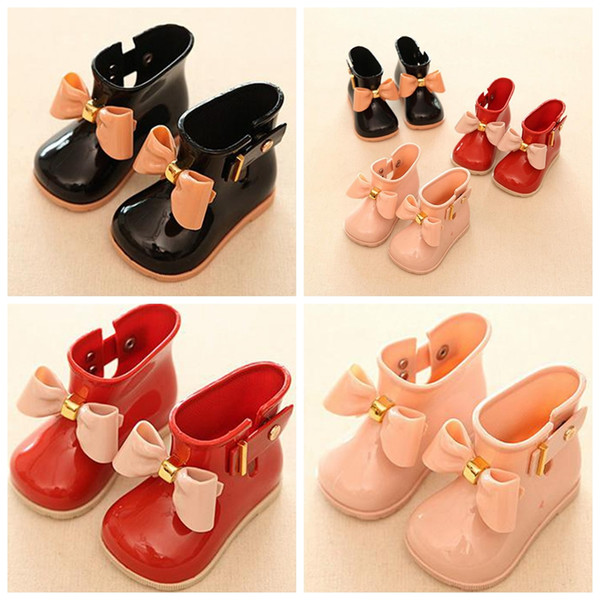 best selling INS Toddler Girls Rain Boots Children Shoes Waterproof Girls Boots With Bow Jelly Kids Rainboots Girls Rubber Shoes 3colors choose free ship