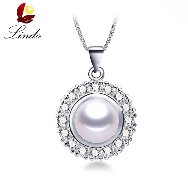 New Arrival 4 Colors Big Size Natural Freshwater Pearl Pendant Necklace 925 Silver Wedding Jewelry with Gift Box