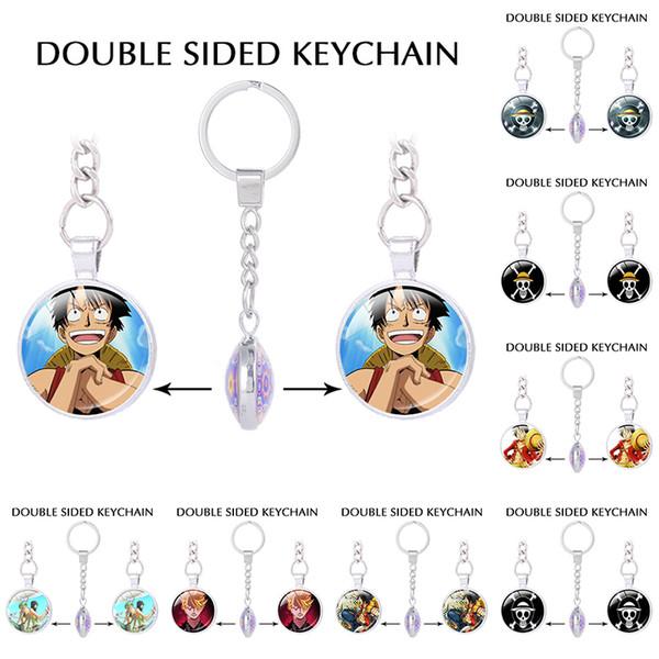 Japanese Anime Key Chain One Piece keychains Luffy Straw Hat Skull Double Pendants Keychain keyring Boyfriend gifts Trinket