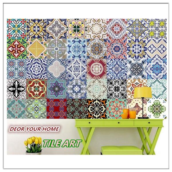 Lote De 10 Pcs Estilo Mediterrâneo Autoadesivo Telha Art Decalque Adesivo de Parede Diy Cozinha Banheiro Home Decor Vinil Um