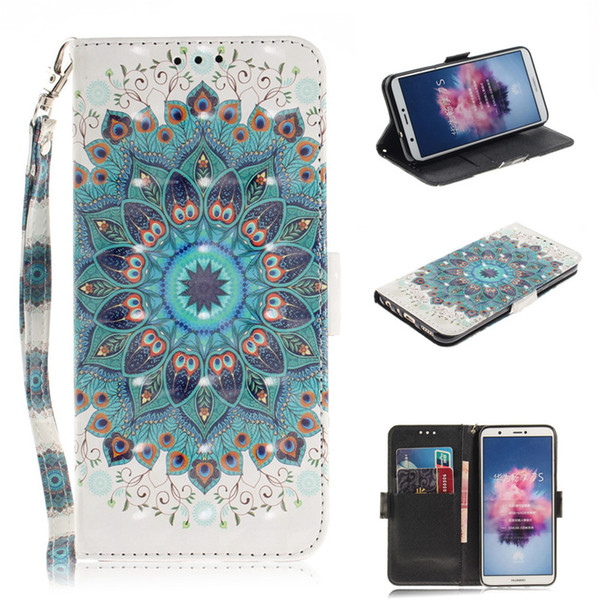 Flip Cover Phone Bags For Huawei Enjoy 7S/P Smart/Honor 9 Lite 3D Painting PU Leather Soft Silicon Wallet Covers Cases Coque