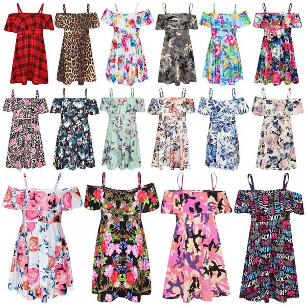 Vestidos de niñas Vestido de skater para niños Fiesta de verano con estampado floral Vestidos de hombros 5-13 años ropa para niñas