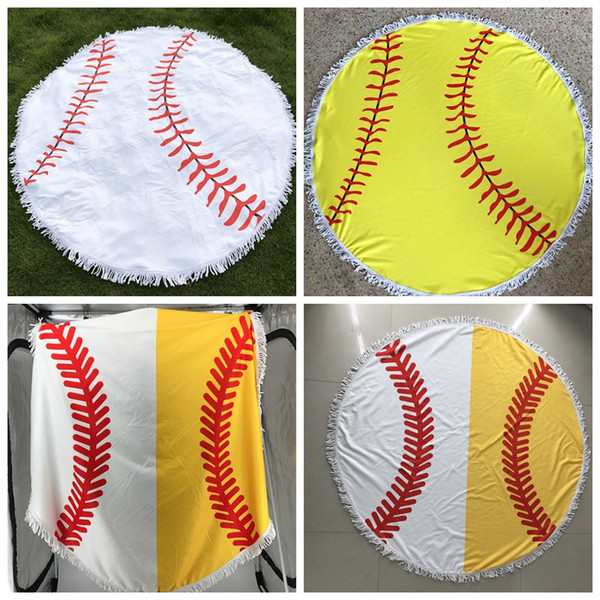best selling Baseball Softball Tapestry Beach Towel Round Tablecloth with Tassel Fringing Beach Serviette Covers Beach Shawl Wrap Yoga Mat 5pcs OOA4872