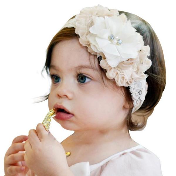 2017 New Fashion Hot children kids Baby girls pearl diamond 3 flowers Headband Lace Headwear Hair Band Head Piece Accessories