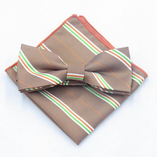 2PCS Men Wedding Suit Silk Polyester Handkerchief Pocket Square Hanky Bowtie Set British Striped Plaid Dot Flower Bow Tie Cravat