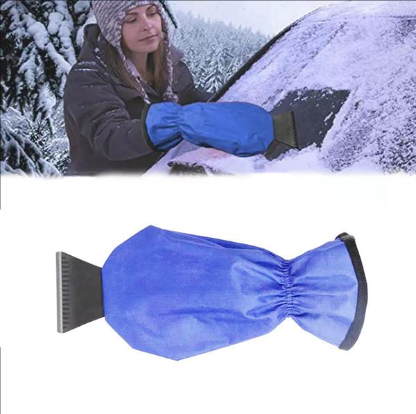 Grattoir à neige pour voiture avec enlèvement des gants Outil propre Gants chauds Grattoir à glace pour voiture Gants imperméables