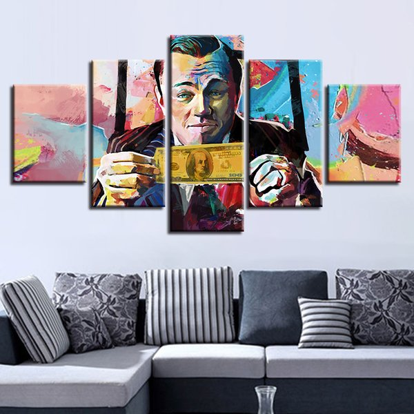 Canvas HD Poster Poster Frame 5 Pieces Abstract Graffiti U.S.Dollar Money Painting Modulare Immagini Wall Art Living Room Decor