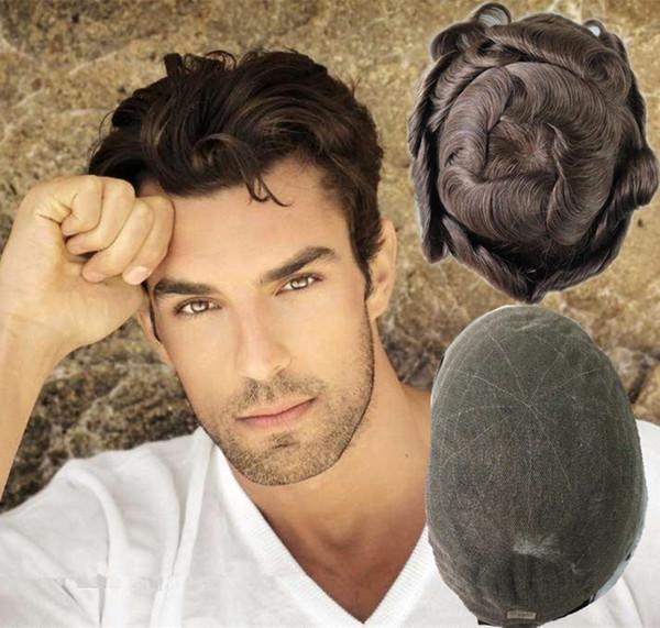 Französisch Spitze Mens Toupet volle Spitze Toupet für Männer 8 X 10 Zoll Welle Männer Perücken Ersatzsysteme indische Remy Haarteile